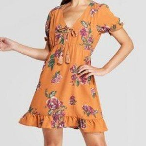 XHILARATION Flora Print V-Neck Mini Dress